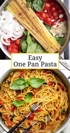 Tasty Vegetarian Recipes, Easy Healthy Recipes, Easy Family Recipes, Healthy One Pot Meals, Healthy Menu, Delicious Meals, Dinner Healthy, One Pan Pasta, 1 Pot Pasta