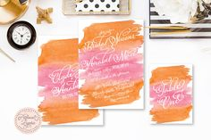 Printable invitations - pink & orange invitation - watercolor theme - calligraphy - watercolor invitation  - freshmint paperie by FreshmintPaperie on Etsy https://www.etsy.com/listing/239175826/printable-invitations-pink-orange