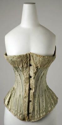 Corset  ca. 1890 (so glad we don't have to wear these today - I love the dresses but could do without the undergarments!!)