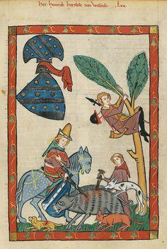 Jäger mit Rufhorn,Codex Manesse, fol.  228r, ca. 1320-1340, Zürich.