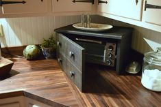 When I shared our latest kitchen updates , I mentioned that I had asked Ron to make a cover for the toaster oven. One of my decorating pra. Kitchen Oven, Kitchen Dining, Kitchen Decor, Modern Farmhouse Kitchens, Home Kitchens, Country Kitchens, Toaster Cover, Furniture