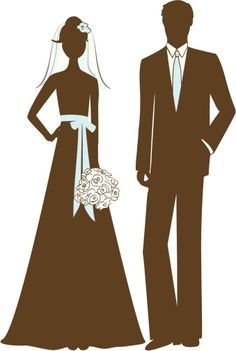 Royalty-free Vector Art: Bride and Groom Silhouette