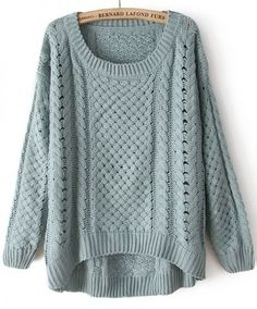 Green Round Neck Long Sleeve Hollow Sweater pictures