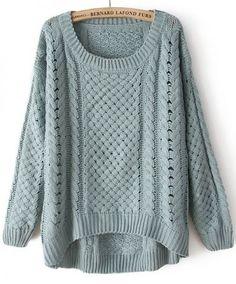 Suéter cuello redondo-verde-Spanish SheIn(Sheinside)