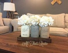 Mason Jar Centerpiece Mason Jar Decor Rustic Home Decor Wooden Tray Reclaimed Wood Painted Mason JarsTable Decor Rustic Housewarming Mason Jar Crafts, Mason Jar Diy, Pot Mason, Rustic Mason Jars, Decoration Shabby, Mason Jar Centerpieces, Beach Centerpieces, Decorated Jars, Painted Mason Jars