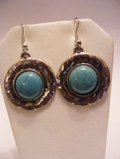 Tibetan Silver Hammered Silver and Turquoise Cabochon Earrings