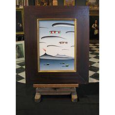 "Dimitris Geros (1948).    ""Landscape"" Oil on wood.  Signed middle right.  Dimensions: 35x25 cm."