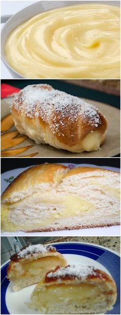 Pão Doce com Recheio de Creme VEJA AQUI>>>MASSA Em um recipiente, colocar farinha, fermento, sal, açúcar, leite, ovos, margarina essência de baunilha,misturar bem. Vai amassando e sovando a massa até desgrudar das mãos. Deixe descansar por 30 minutos #receita#bolo#torta#doce#sobremesa#aniversario#pudim#mousse#pave#Cheesecake#hocolate#confeitaria I Love Food, Good Food, Yummy Food, Cooking Bread, Cooking Recipes, Making Sweets, Confort Food, Pan Bread, Portuguese Recipes