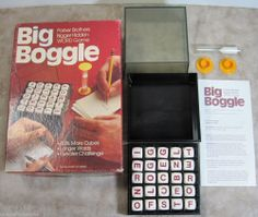 Big Boggle Parker Brothers Word Search Game - Vintage 1979 - Wood Cubes