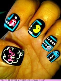 Pac-Man nails...beyond epic awesome! Don't forget the cherries and apples! (Chelsea T. on Beautyish)