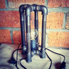 Купить Лампа из водопроводных труб Loft/Industrial #8 - серебряный, стимпанк, лампа настольная, лампа, трубы