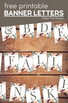 Print these cute banner letters to make a custom fall themed banner such as thankful, grateful, fall, autumn or any message you like. Free Printable Banner Letters, Blank Banner, Printable Paper, Cute Banners, Floral Banners, Floral Letters, Grateful, Thankful, Hello Kitty Birthday