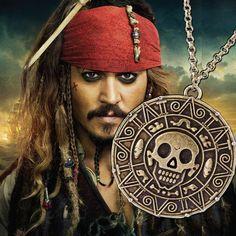 Pirates Of The Caribbean Necklace Jack Sparrow Aztec Coin Medallion Vintage Gold Bronze Silver Pendant Johnny Depp Wholesale Aztec Necklaces, Gold Coin Necklace, Skull Necklace, Gothic Necklaces, Caribbean Jacks, Pirates Of The Caribbean, Skull Pendant, Coin Pendant, Pendant Jewelry