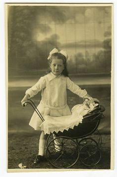 C1910 Vintage Little Girl w Little Doll in Toy Baby Carriage