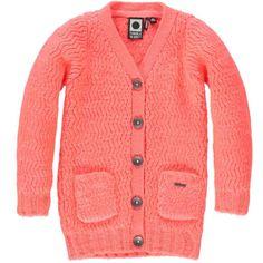 Neon-oranje zig-zag gebreid vest van Tumble 'n Dry met zakjes | Olliewood
