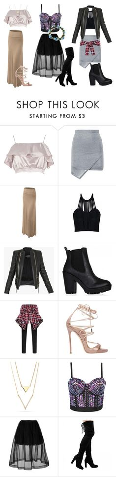 """""""Skirts ideas"""" by maize-xx on Polyvore featuring River Island, LE3NO, Posh Girl, Balmain, Dsquared2, WithChic and Simone Rocha"""