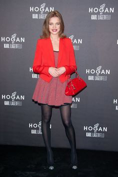 Love the red jacket and purse.