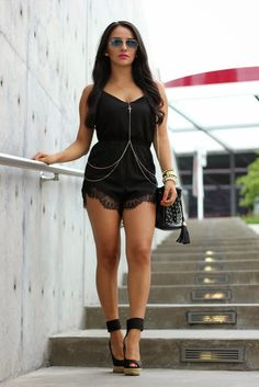 cute black romper and body chain......... cute it is