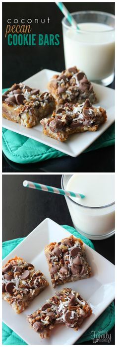 Coconut Pecan Cookie bars look impressive, taste amazing, and are so easy to make! The coconut, milk chocolate chips, and pecans caramelize while it bakes.
