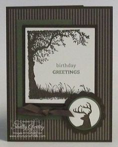 Nature Silhouette Stampin Up Idea ~ Masculine card for birthday or other Masculine Birthday Cards, Birthday Cards For Men, Masculine Cards, Male Birthday, Boy Cards, Cute Cards, Scrapbook Cards, Scrapbooking, Making Greeting Cards