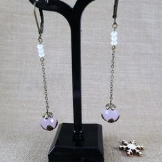 Boucles d'oreilles grasse en quartz rose facetté