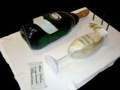 Champagne Bottle And Glass Birthday Cake Everything is edible - chocolate mud cake for both.Thanks for browsing, enjoy you day. Champagne Cake, Champagne Buckets, Prosecco Cake, Bottle Cake, Chocolate Mud Cake, 40th Birthday Cakes, Cake Central, Cakes For Men, Cake Tutorial