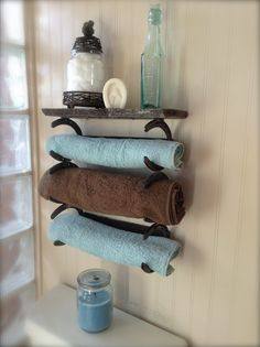Newest Addition to Our Custom Bath Line  Horseshoe Towel Rack with Shelf  $89.99 (Diy Bathroom Wood) #Horseshoecrafts