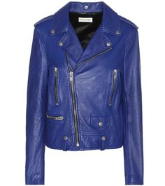 Blue leather biker jacket by Saint Laurent. Shop this Jacket by clicking on the picture.