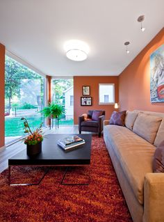 Unique Modern Traditional Home with Small Design: Cozy Family Room With Orange Colours Wall And Red Rug ~ urbanbedougirl.com Home Design Inspiration