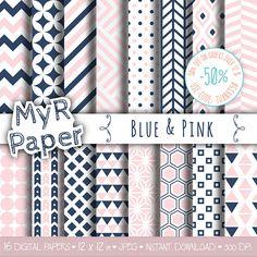 Geometric Digital Paper Pack: Blue & Pink #scrapbooker