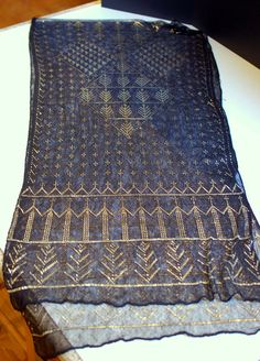 Antique 1920's shawl of Egyptian assuit fabric with an art deco geometric pattern. Art deco shawl.