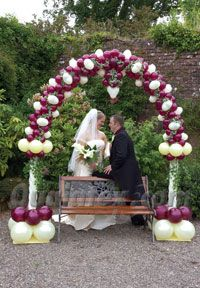 Cute arch in purple and yellow for wedding decoration Qualatex Balloon Ideas