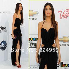 Selena gomez d'affichage. prix amie gaine spaghetti strap sol- longueur mousseline célébrité sexy robe yz062008 fente latérale