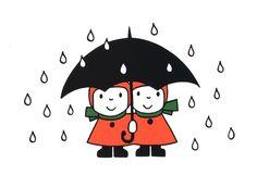 Meisjes onder de paraplu.