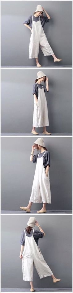 Linen loose overalls women's trousers