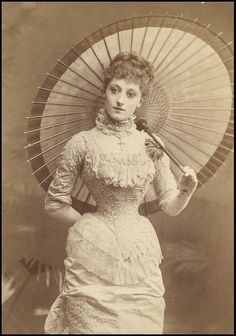 Portrait of a young woman with parasol, 1880s.
