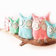 and Baby Makes Five--Owls on Driftwood Wall Art (made to order) by birdynumnumDesign