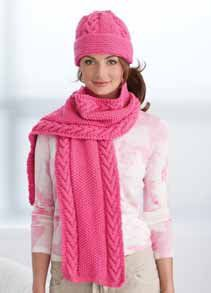 Pink Cable Hat and Scarf Free Pattern..FREE PATTERN ♥ 3900  FREE patterns to knit ♥ http://pinterest.com/DUTCHYLADY/share-the-best-free-patterns-to-knit/