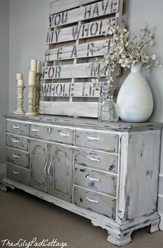 painted furniture and diy crate artwork. Beautiful together - elegant decor