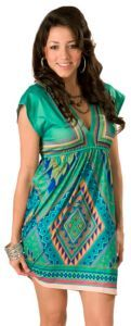 Flying Tomato Ladies Teal with Multi Print V-Neck Empire Waist Short Sleeve Dress