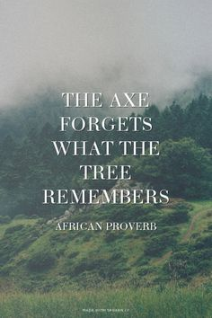 The axe forgets what the tree remembers - African proverb | Corgie made this with Spoken.ly