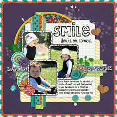 Kit: Today I am Happy by Clever Monkey Graphics Template: Half Pack 43 Freebie templates) by Cindy Schneider I Am Happy, Layout Design, Digital Scrapbooking, Monkey, My Photos, Clever, About Me Blog, Templates, Layouts