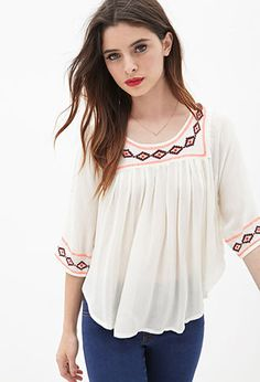 Cute for school! Diamond-Embroidered Peasant Top | FOREVER21 - 2000123077 $22.80