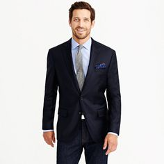 """Meet the Legacy blazer in our Crosby fit—tailor-made for the guy with an athletic build (18"""" biceps are hard to come by, but a suit that fits shouldn't be). It's crafted in Italian wool from a mill that's been making some of the best fabrics in the world for over a century and is finished with a full Bemberg lining (for that easy-on, easy-off thing). We swapped out the gold buttons for navy and went with a topstitching detail instead of pickstitching, so it's a little more casual but still…"""