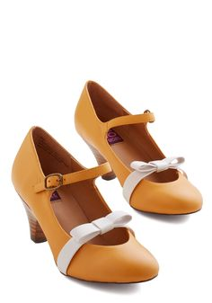 Nothing Short of Sweet Heel in Goldenrod. These Mary Jane heels by Mojo Moxy are anything but boring! #yellow #modcloth