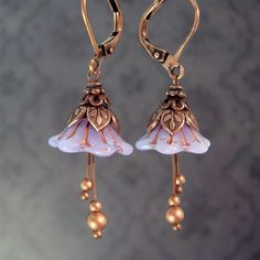 cc0f4944a Lavender Faerie Flower Earrings - Dainty light purple opalescent flower  beads with leafy antiqued copper details. Ardent Hearts Designs