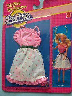 My First Barbie Fashion Mattel 4868 C 1983 Pretty Rose Bud Print Dress