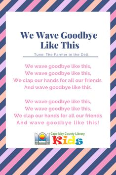 Our preschool weekly goodbye song! Head over the Goodbye Song For Kids, Goodbye Songs For Preschool, Transition Songs For Preschool, Preschool Music, Preschool Graduation Songs, Rhymes Songs, Kids Songs, Good Bye Songs, Circle Time Songs