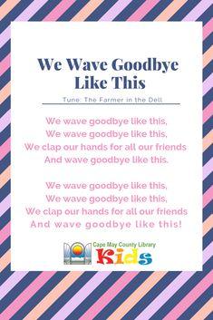 Our preschool weekly goodbye song! Head over the Goodbye Song For Kids, Goodbye Songs For Preschool, Transition Songs For Preschool, Preschool Music, Preschool Graduation Songs, Preschool Transitions, Rhymes Songs, Kids Songs, Good Bye Songs