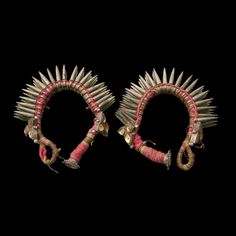 In ancient rural India, jewels possessed a dual purpose - not just to sparkle on the body but also to protect the wearer against foes and ill-fortune. Lined with silver (80%) spikes and glittering amber 'eyes', the adornments are strung on the original cotton cord. Full of character, these are an exciting pair that have undoubtedly had a past full of drama and glamour.  |Silver Bracelets|  Gujarat|  India|  Circa Early 20th Century|  Wrist Dia 5cm|  120g each|  £320 each. www.rabari.co.uk